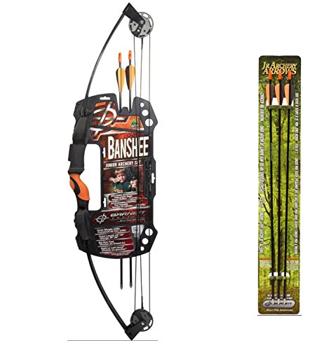 Barnett Banshee Junior Archery Set + Barnett Outdoors Junior Archery 28-Inch Arrows (3 Pack)