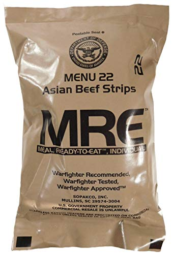 MREs (meals-ready-to-eat) genuine u.s. According to the manufacturers directions, military surplus (1 pack) assorted flavor