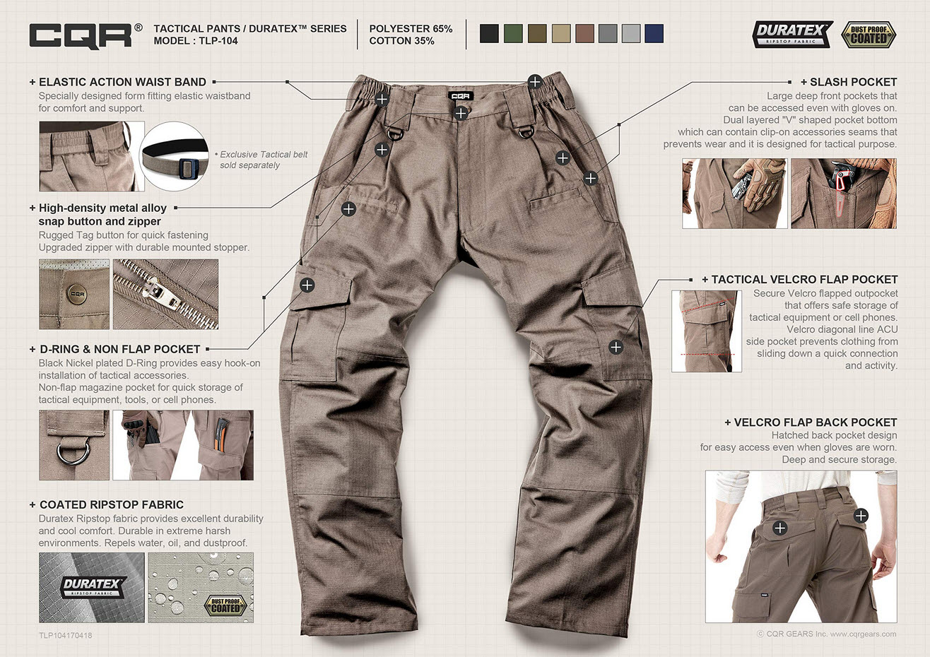 cqr tactical pants feature infographic